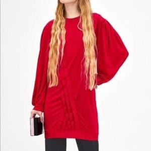 New Zara Trafaluc Red Pleated Tunic Dress